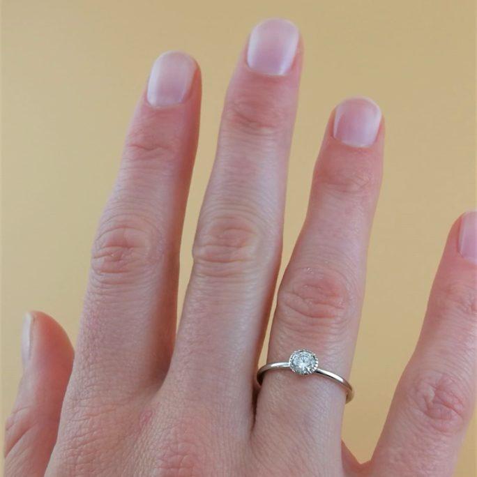 Verlobungsring in Weißgold mit Diamant